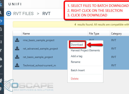 How to Batch Download RVT Models from UNIFI | Axoscape